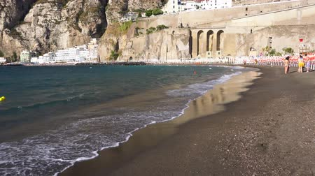 positano : beach and waterfront of Meta di Sorrento at summer day, southern Italy Stock Footage