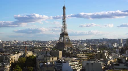 eifel : famous Eiffel Tower and Paris skyline, Paris France Stock Footage