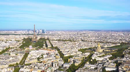 eifel : view of Eiffel Tower landmark and Paris skyline from above, Paris France Stock Footage