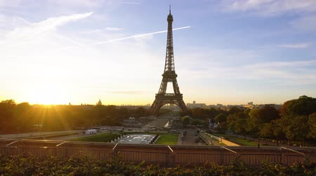 eifel : view of Eiffel Tower from Trocadero at sunrise, Paris, France