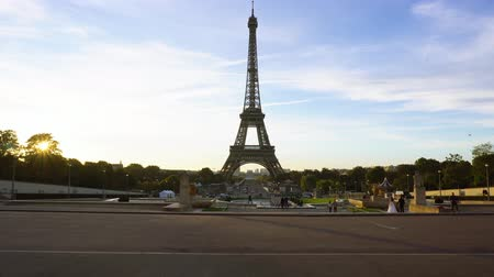 Eiffel Tower view from Trocadero with peolpe walking, Paris, France