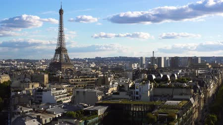 eifel : famous Eiffel Tower and Paris roofs at sunny day, Paris France Stock Footage