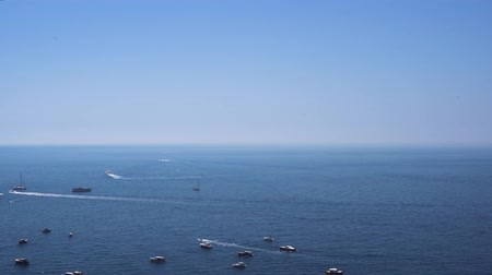 amalfitana : Tyrrhenian Sea waters with boats and ships near Positano, Amalfi coast Italy