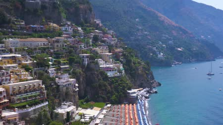 amalfi coast : Positano cute houses on the rock - famous old italian resort at summer day, Italy