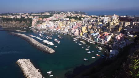Острова : Procida island colorful town with bay aerial view, Italy