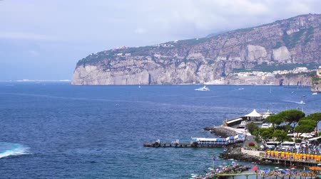 positano : SORRENTO, ITALY - JULY 15, 2018: sea waving in port of Sorrento at summer, southern Italy Stock Footage