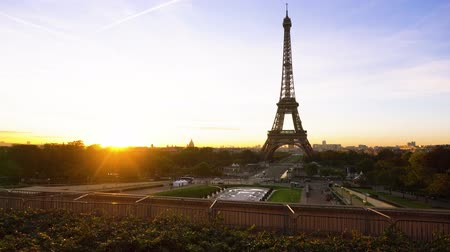 eifel : Eiffel Tower from Trocadero with risinf sun, Paris, France