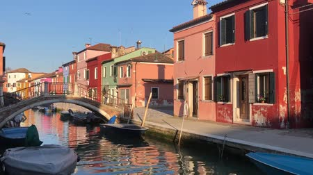 bridge over canal with multicolored houses of Burano island, Venice, Italy Stok Video