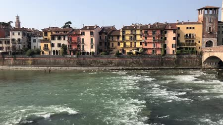Riverbank in old town of Verona, Italy