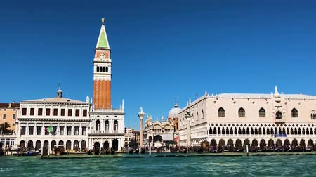 famous San Marco square and lagoon waterfront at sunny day, Venice, Italy Stok Video