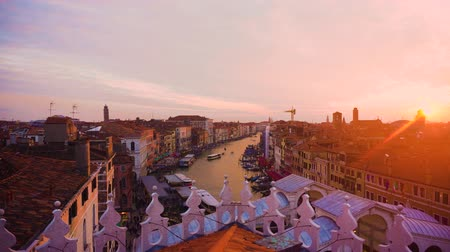 Grand Canal and colorful sunset sky, Venice Italy Stok Video