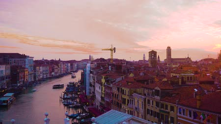 Grand Canal and colorful pink and blue sunset sky, Venice Italy