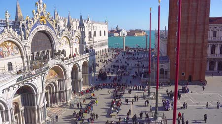 People walking in front of cathedral church and square of San Marco, Venice, Italy, timelaps Stok Video