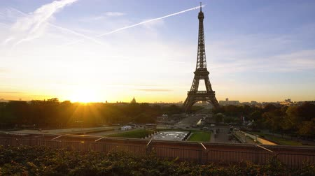 Eiffel Tower from Trocadero with risinf sun, Paris, France, timelaps Stok Video