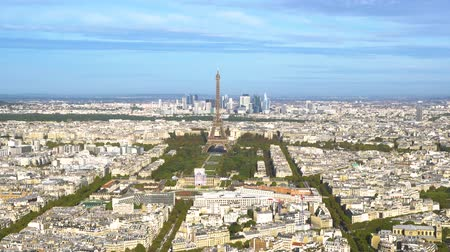 view of Eiffel Tower getting close and Paris skyline from above, Paris France
