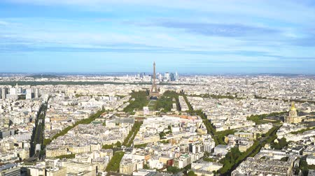 view of Eiffel Tower and Paris skyline from above, Paris France