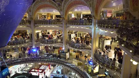 lafayette : PARIS, FRANCE - OCTOBER 05, 2017: People shopping in Gallery Lafayette, the most famous and beutiful Paris shop, France