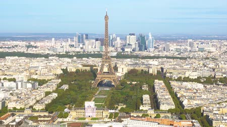 view of Eiffel Tower close up and Paris skyline from above, Paris France