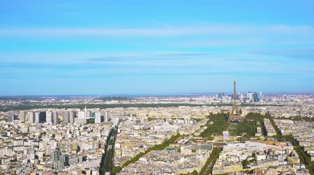 view of Eiffel Tower and Paris cityscape from above, Paris France