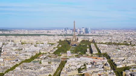 view of Eiffel Tower getting closer and Paris skyline from above, Paris France Stok Video
