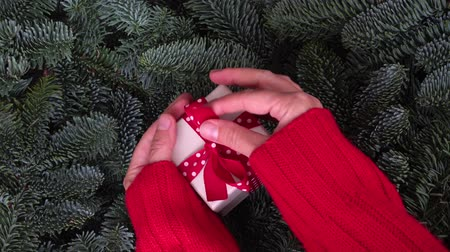 Christmas gift giving - someones hand in red sweater holding and opening white gift box with present Стоковые видеозаписи