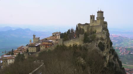 view of San Marino historical castle fortress on Mount Titano at winter