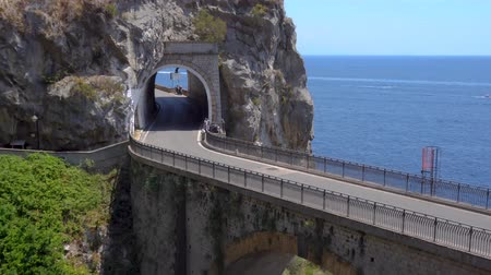 amalfitana : famous picturesque road of Amalfi coast, Italy Stock Footage