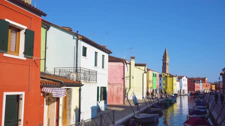venezia : timelaps of canal with multicolored houses of Burano island, Venice, Italy