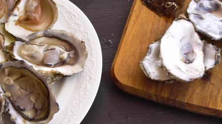 oysters : showing opne fresh raw oysters and its shells