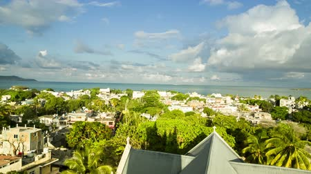 idil : looking down on Mahebourg city in Mauritius Stok Video