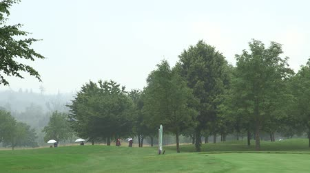 kurs : Golf course on a rainy day. Golf player walking with Their umbrellas in the background to the next hole.
