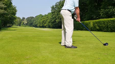 golfe : A man is playing a drive at a golf course on a hot sunny day. The camera is behind the player. Vídeos