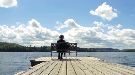 Онтарио : A mother sits with her daughter on a pier bench by a lake. Rear view, long shot. Стоковые видеозаписи