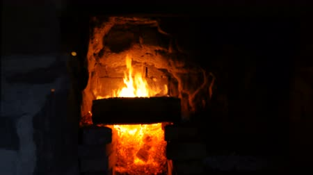 ember : A fire burns in a hearth. Close up. Stock Footage
