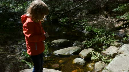 szalma : A small brook flows reflecting the sun. A little girl stands by anxiously watching the flow of the water.
