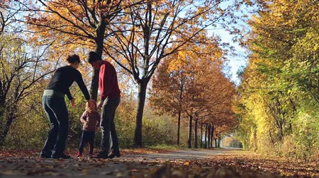 worms eye view : Mother, daughter, and father playing in an park on a road covered with fallen leaves.