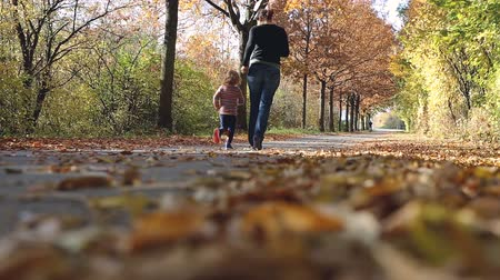 worms eye view : Mother and her child jog in an autumnal park.