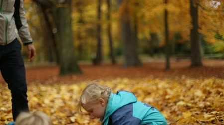 parkland : Childhood moments: siblings playing with autumn leaves. Slow motion. Medium shot. Selective focus.