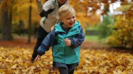 etnisite : Childhood moments: teenager and children playing with autumn leaves. Rack focus. Slow motion.