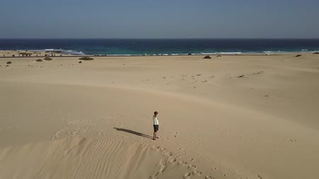 Man standing on beach sands drone shot.