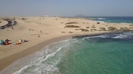 Canary Islands beach at Fuerteventura. Drone shot.