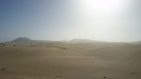 Desert sands drone view. Sunlight scorching the desolate landscape.