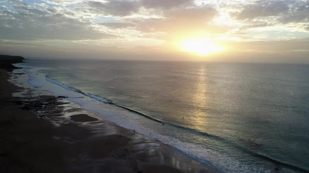 Sunset over a Canary Islands beach. Aerial shot. Stock mozgókép