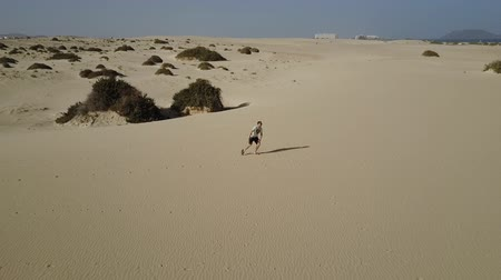 Man in desert wilderness behaving wildly on scorching sands and dunes. Long shot. Drone shot. Stock mozgókép