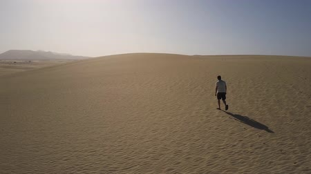Man walking in desert. Drone shot. Stok Video