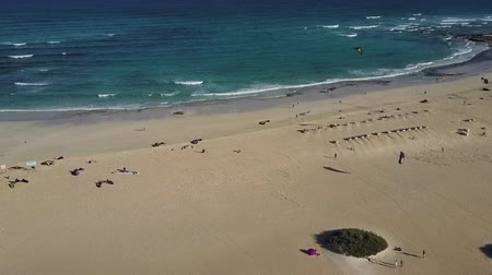 Beach panorama from a birds eye perspective, Fuertevenura, Canary Islands. Establishing shot. Drone shot. Stok Video