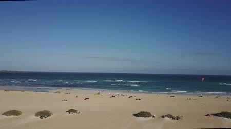 Beach panorama at Fuerteventura, Canary Islands. Stok Video