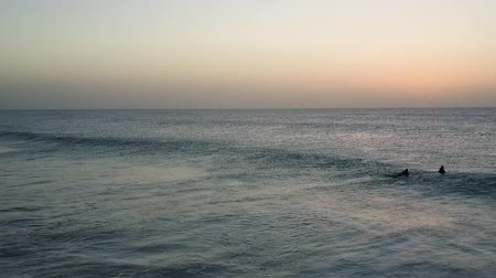 Morning horizon in the Atlantic Ocean. Pair of surfers swimming in the waters. Aerial shot.