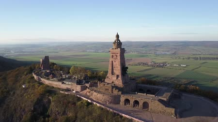 william : Kyffhauser monument in Thuringia, Germany. Rural German landscape panorama stretching out into the horizon. Drone shot.