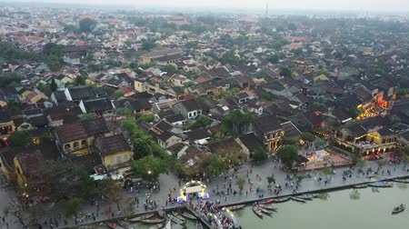 hoi an : Aerial panorama of historical Hoi An, Vietnam. Birds eye view of cityscape. Aerial shot. Stock Footage